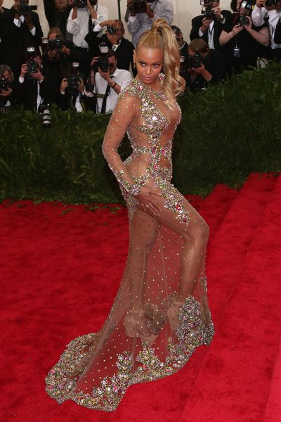 4. Just try to improve on the perfection that is Beyonce. Ricardo Tisci did his best with a sheer, crystal-encrusted dress worn to the 2015 Costume Institute Gala, a year after elevator-gate.