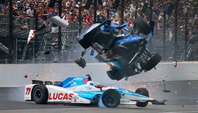 Scott Dixon in a violent crash in 2017 Indianapolis 500