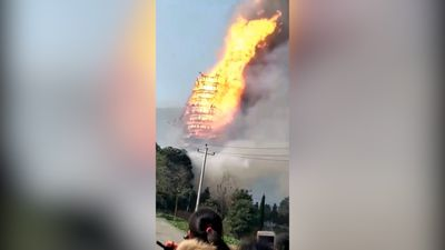 Tallest wooden pagoda in Asia burned to the ground in mystery fire