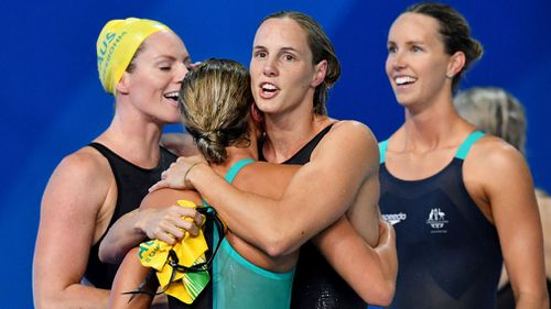 Bronte Campbell overcame a deficit to lead the 4x100m medley relay to victory. (AAP)