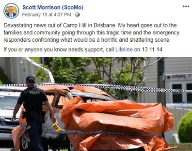 Scott Morrison Facebook post following child deaths