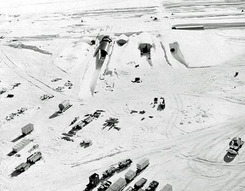 An aerial shot of Camp Century taken during the 1960s, (US Army).