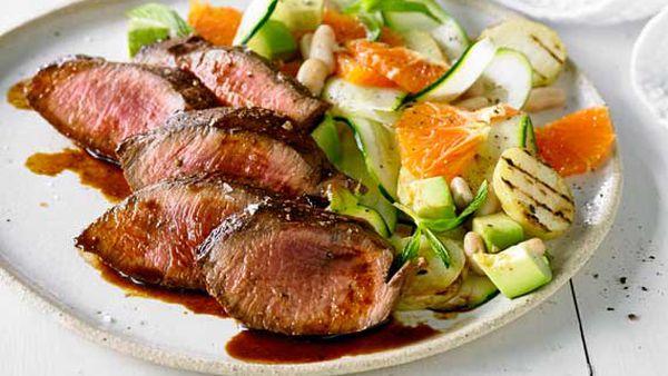 Peruvian-style flank steak with orange and potato salad