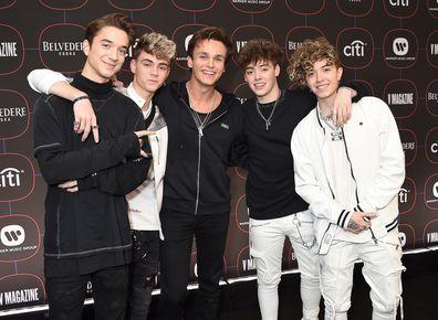 US boyband Why Don't We members Daniel Seavey, Jack Avery, Corbyn Besson, Zach Herron and Jonah Marais