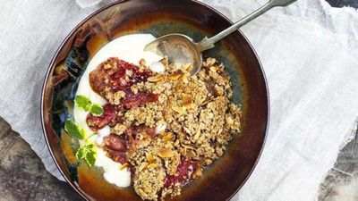 """Recipe:<a href=""""http://kitchen.nine.com.au/2016/12/12/14/34/apple-rhubarb-and-coconut-crumble"""" target=""""_top"""">Apple, rhubarb and coconut crumble</a>"""