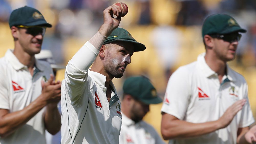 Following his first innings heroics, Australian spinner Nathan Lyon had to battle a finger injury. (AAP)