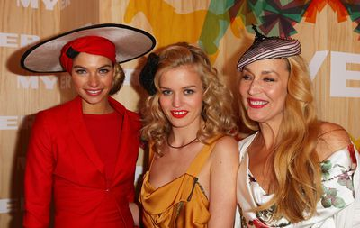 Myer scored a supermodel trifecta when Melbourne's Jess Hart was joined by mother-daughter act Jerry Hall and Georgia May Jagger on Oaks Day in 2010. Unlike many Cup Carnival guests the Hall-Jaggers were excessively polite.