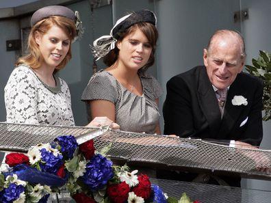 Princess Beatrice and Princess Eugenie with Prince Phiilp