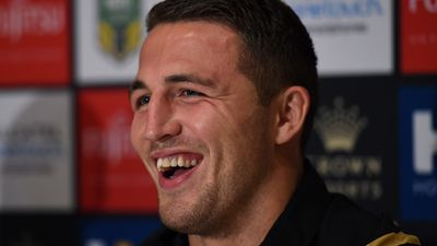 Sam Burgess at a post match press conference. (AAP)