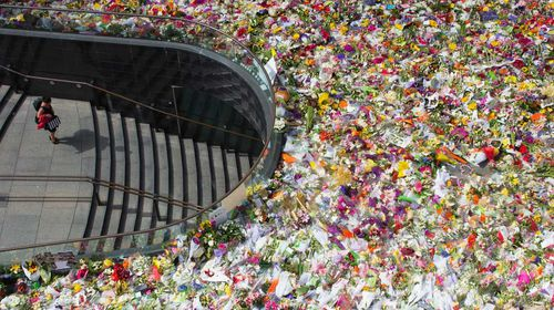 The sea of floral tributes laid in Martin Place after the siege.