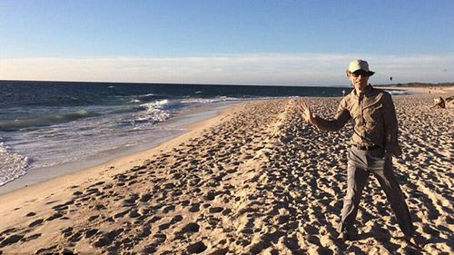 Mick Jagger took to Twitter to upload this image of himself standing on  Perth beach just hours before the death of girlfriend, L'Wren Scott. (Twitter)