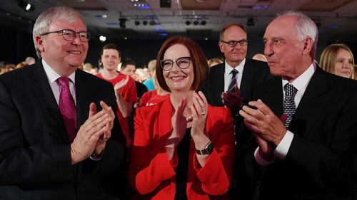 Former Prime Ministers Kevin Rudd, Julia Gillard and Paul Keating attend the election campaign launch.