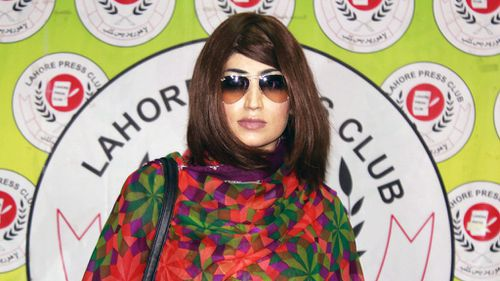 Pakistani social media celebrity, Qandeel Baloch arrives for a press conference in Lahore on June 28, 2016. (AFP)