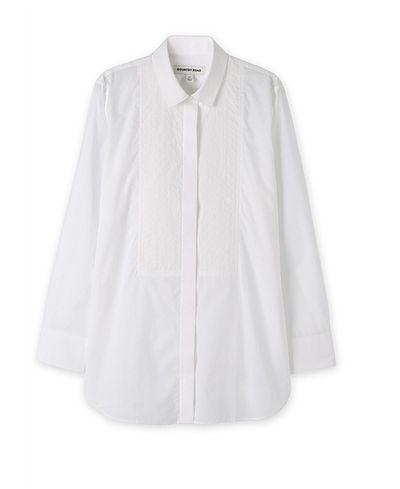 "<p>The shirt:<a href=""https://www.countryroad.com.au/shop/woman/clothing/shirts/60196899/Stitch-Bib-Shirt.html"" target=""_blank"">Country Road</a>stitch bib shirt, $159</p>"