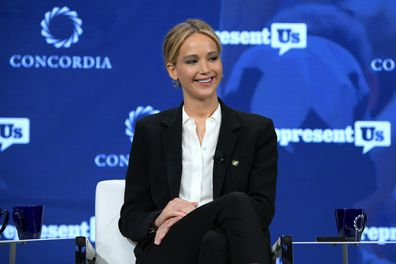 Jennifer Lawrence speaks onstage during the 2018 Concordia Annual Summit - Day 2 at Grand Hyatt New York on September 25, 2018 in New York City.