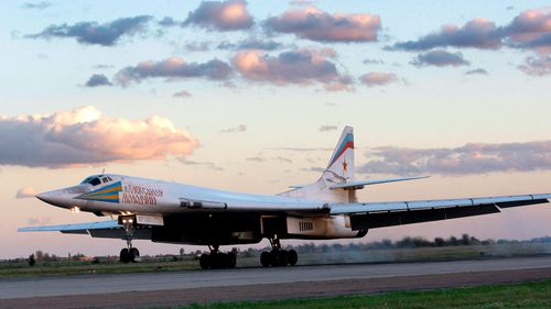 Russia's strategic bomber Tu-160, the largest supersonic bomber in the world, lands at Engels Air Base near Saratov, about 700km southeast of Moscow, Russia.