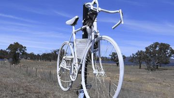 A 'ghost bike' memorial in honour of the late Mike Hall.