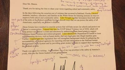 Teacher sends typo-filled Trump letter back