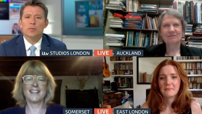 Helen Clark (top right) on Good Morning Britain with Boris Johnson's sister Rachel Johnson (bottom left)