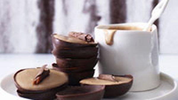 Rum and raisin chocolate mousse eggs