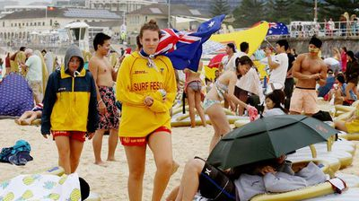 Lifesavers were at the ready on the famous sands. (AAP)