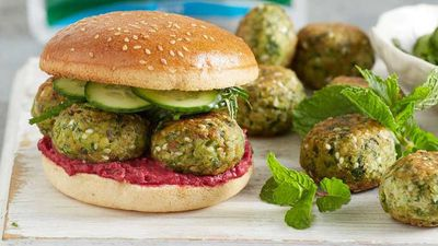 """Recipe: <a href=""""http://kitchen.nine.com.au/2017/08/08/13/11/spinach-falafel-rolls-with-minted-cucumber"""" target=""""_top"""">Spinach falafel rolls with minted cucumber</a>"""