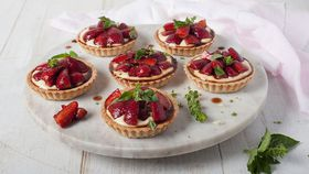 Balsamic strawberry custard tartlets