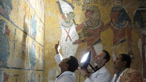 Undertaking a visual examination of the wall painting in the burial chamber in February 2009. Scientists compared photographs taken in the 1920s with the current condition of the paintings, showing there was no change in the spots. Picture: Courtesy of J Paul Getty Trust