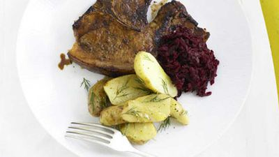 "Recipe: <a href=""http://kitchen.nine.com.au/2016/05/19/16/55/spiced-pork-chops-with-beetroot-relish"" target=""_top"" draggable=""false"">Spiced pork chops with beetroot relish</a>"