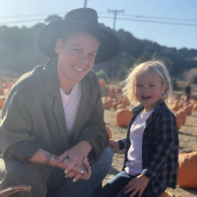 Pink poses in a photo with her four-year-old son Jameson.