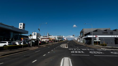 The normally busy Church Street in Parramatta lies empty during lockdown.