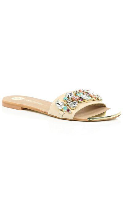 """<a href=""""http://au.riverisland.com/women/shoes--boots/sandals/nude-pink-leather-embellished-sliders-667181"""" target=""""_blank"""">Slides, $70, River Island</a>"""