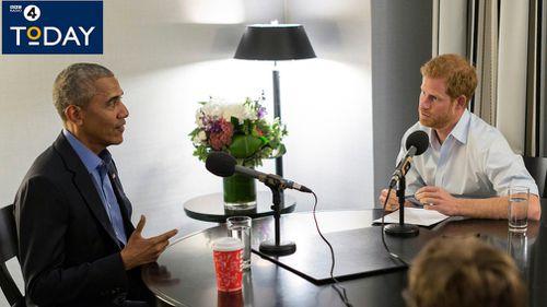 Prince Harry interview former US president Barack Obama. (AAP)