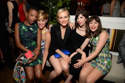 It's a prison break! <br/><br/><i>OITNB</i> stars Samira Wiley, guest, Taylor Schilling, Carrie Brownstein and Aussie Yael Stone cosy up at the Variety and Women in Film Emmy Nominee Celebration.