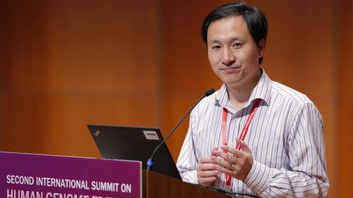 He Jiankui speaks during the Human Genome Editing Conference in Hong Kong