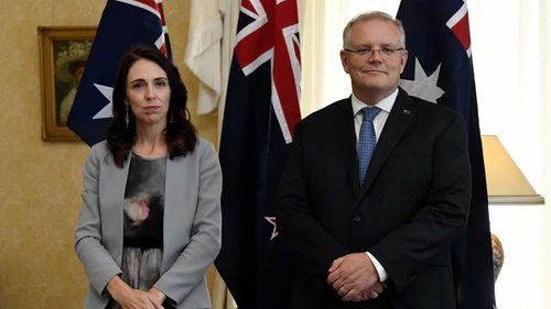 Jacinda Ardern and Scott Morrison in Sydney.