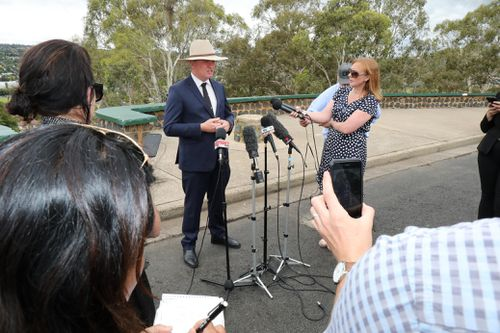 Barnaby Joyce speaks to media during a press conference in Armidale, New South Wales.