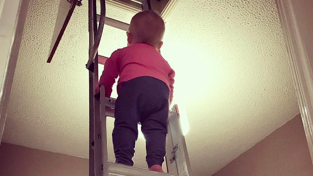 Living on the edge: Baby Hannah's Dad Photoshops her into precarious portraits. Image: Stephen Crowley/Reddit