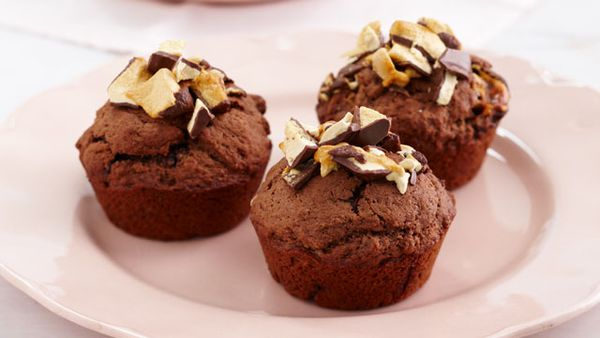 Chocolate honeycomb muffins