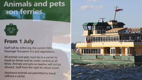 Changes to the rules for pets on Sydney ferries will be enforced from July 1.