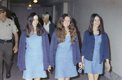 Charles Manson followers, from left: Susan Atkins, Patricia Krenwinkel and Leslie Van Houten, walk to court to appear for their roles in the 1969 cult killings of seven people, including pregnant actress Sharon Tate.