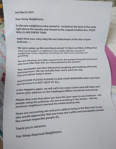 Neighbours noise complaint letter