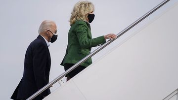 President Joe Biden and first lady Jill Biden board Air Force One at Andrews Air Force Base, Md., Friday, Feb. 26, 2021. They are en route to Houston to survey damage caused by severe winter weather and encourage people to get their coronavirus shots