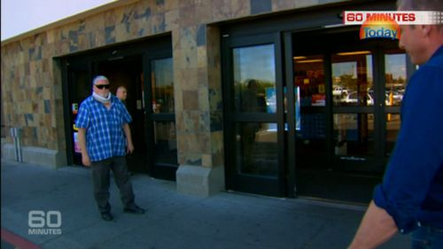 Mr Hand confronted outside a chemist in Idaho Falls. (60 Minutes)