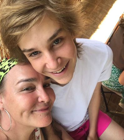 Kate Langbroek and son Lewis who recovered from leukaemia