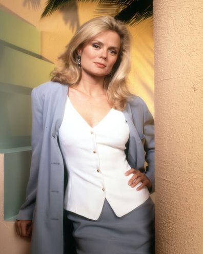 HOTEL MALIBU television series. Pictured is Romy Windsor (as Nancy Radzimski Salducci). Image dated July 1, 1994.