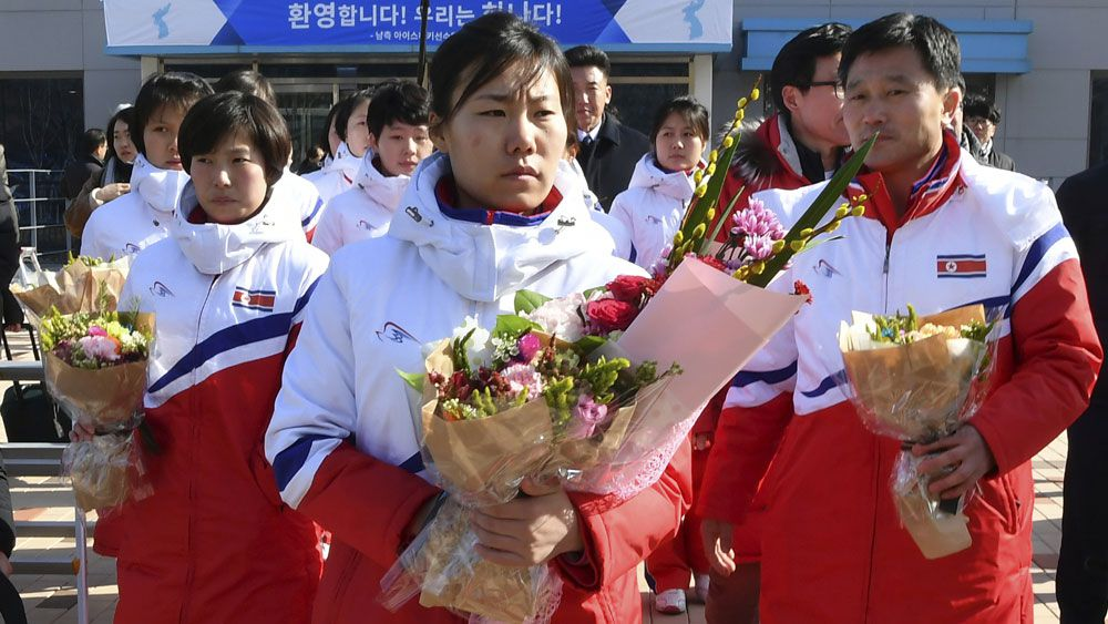 North Korean women's ice hockey team.