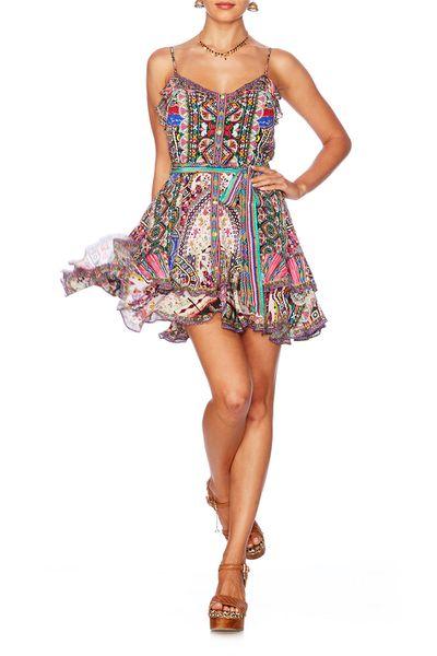 "<p><a href=""http://www.camilla.com/au/collection/dresses-kaftans/kalbelia-queen-mini-button-down-frill-dress-811sdsd054-kalbelia.html"" draggable=""false"">Camilla kalbelia queen mini dress</a>, $546</p> <p></p>"