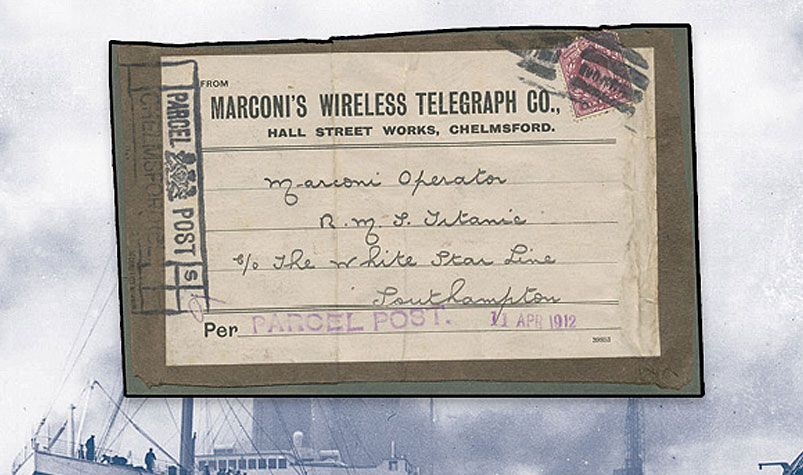 The 1912 label failed to arrive in the English city of Southampton before the ocean liner left for its fateful voyage to New York. (Mossgreen Auctions)