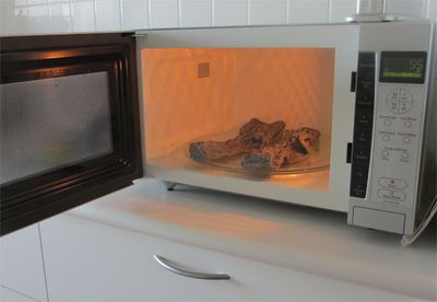 Warming socks in the microwave